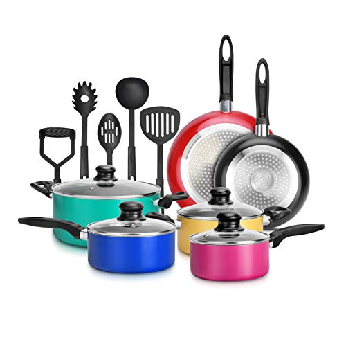 15-Piece Nonstick Kitchen Cookware Set PTFE/PFOA/PFOS- Free | Colorful Heat Resistant Lacquer Kitchen Ware Pots Pan Set…