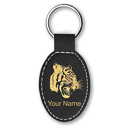 Oval Keychain, Tiger Head, Personalized Engraving Included (Black)