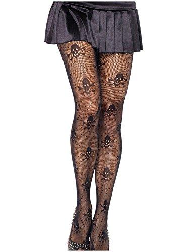Fishnet Women's Stockings Skull Mesh See Thigh Hi Black Lace Tights Pantyhose Legging (Skull Mesh, One Size) (Halloween Costumes Fishnet Tights)
