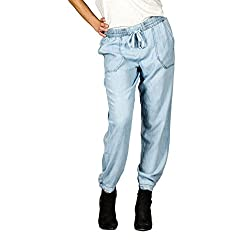 Suko Jeans for Women Pull-On Tencel Baggy Pants with Elastic Drawstring Waist BLEACH Large
