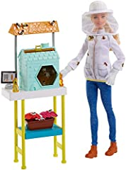 Barbie career dolls and playsets inspire kids to dream big and aim high! This Barbie playset turns work-time into playtime with Barbie doll, a beehive and accessories that let young professionals explore their dream careers. A cool feature ad...