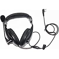 Caroo 2 Pin Professional Noise Cancelling Overhead Earpiece Headset with Boom Mic Microphone for Kenwood Radio TK250 TK260 TH-215 D7 D7A F6 F6A etc.