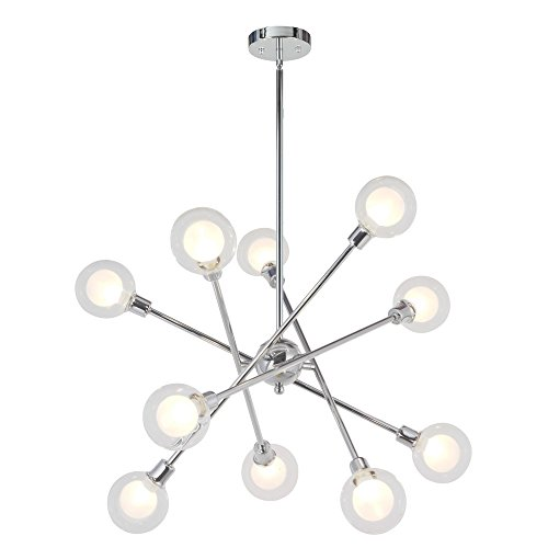 VINLUZ Sputnik Chandelier Lighting 10 Lights Glass Sphere Modern Pendant Light G9 Base Ceiling Light Fixture Chrome Finish 10 Bulbs Included