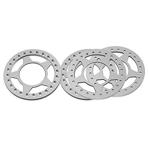 Beadlock Ring 2.2 (RCLIONS 4pcs Silver Aluminum Replacement Wheel Rim Beadlock Ring for 1:10 Crawler RC Car 2.2