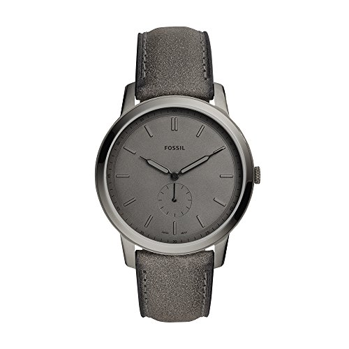 Fossil Men's The The Minimalist - Mono Stainless Steel Analog-Quartz Watch with Leather Calfskin Strap, Grey, 22 (Model: FS5445)