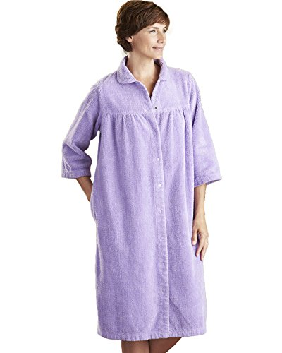 National Chenille Gripper Robe, Lilac, 1X