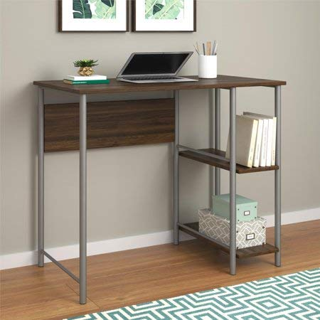 - Garrett Metal Office Desk with 2 Side Shelves (Walnut/Silver)
