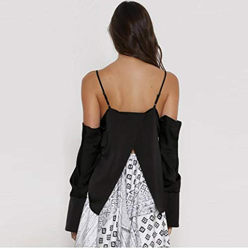 Femme Blouse Chic Manche T Shirt Tops Noir Casual Nu Loose V Sexy Unie Mode Col Dos Chemisier Longue Couleur Camisole pqwpnZrf8