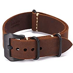 Carty Replacement Watch Band Strap Vintage Handmade Crazy Horse Leather Zulu Nato 20mm22mm24mm(zmt1-20brbk)