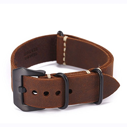 Carty Replacement Watch Band Strap Vintage Handmade Crazy Horse Leather Zulu Nato 20mm22mm24mm(zmt1-22brbk)