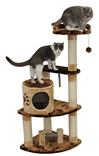 53 Florence Cat Tree in Brown / Beige - Premium Cat Tree for Large Cats and Kittens, Cat Furniture Bundles with Scratching Post and Cat Condo, Cheap Cat Trees and Condos by Kitty Mansions