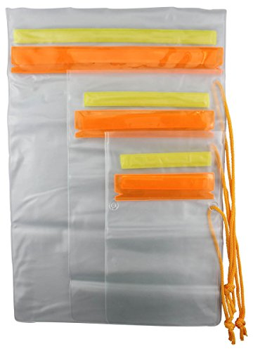- SE TP126-3 Set of 3 Waterproof Plastic Pouches with Hook and Loop Closure