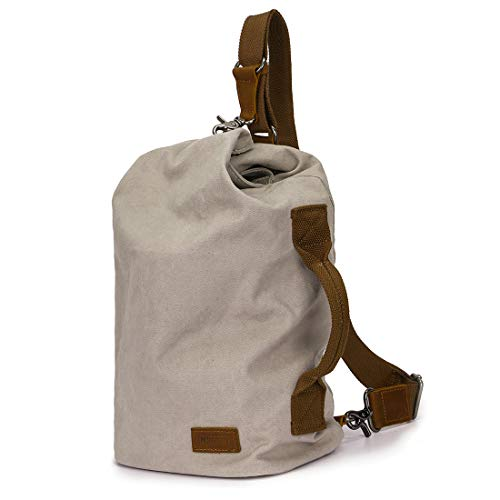 MONHINTY Men's Sling Backpack Canvas Leather Chest Crossbody Bag Tote Light Daypack Beige White