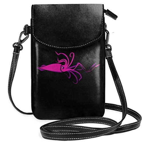 Small Cell Phone Purse For Women Leather Pink Squid Insides Card Slots Crossbody Bags Wallet Shoulder Bag
