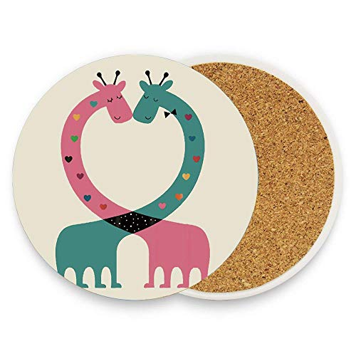 CoolToiletLidCoverCC Cartoon Giraffe Intertwine Heart-shaped Romance Ceramic Coaster 1 Piece Absorbent Coaster with for Drinks Coffee Mug Glass Cup Pack Of 1 ()