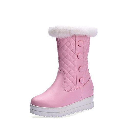 VogueZone009 Damen Ziehen auf Rund Zehe Hoher Absatz PU Leder Niedrig-Spitze Stiefel, Pink, 43