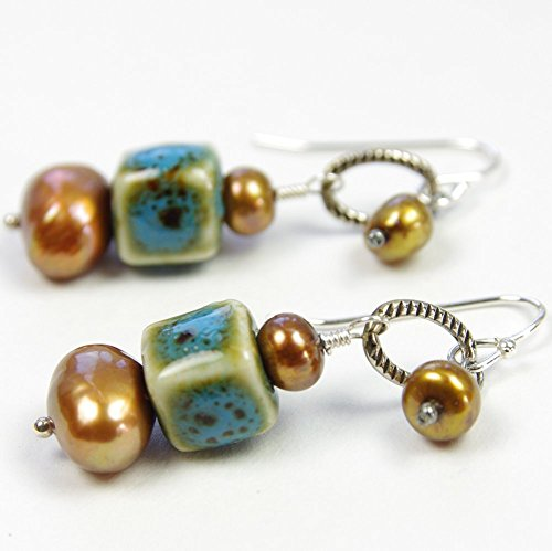 Brown Cultured Earring (Blue and Brown Earrings Golden Freshwater Cultured Pearl Ceramic Porcelain Bead Sterling Silver Dangle)