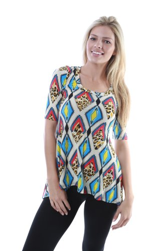 24/7 Comfort Apparel Women's Diamond Cheetah Printed Tunic 272EKN-S