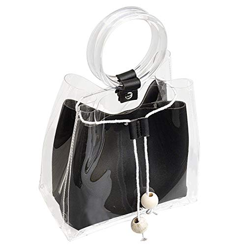 Clear Bag DALFR Waterproof Purse Chain Candy Color Jelly Transparent Purses And Handbags for women (Black) ()