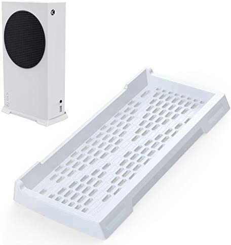 innoAura Vertical Stand for Xbox Series S, Xbox Series S Stand with Non-Slip Feet and Built-in Cooling Vents (White)