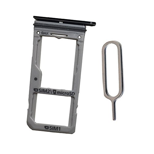 Dual SIM Card Tray &Micro SD Card Slot Holder replacement For Galaxy S8 S8+ plus (Midnight Black /Dual sim)