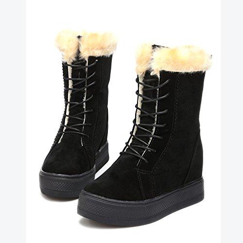 Winter Eshion Flat Wedge Women Warm Hidden Sneakers Black Faux Boots Suede Snow ZZ6w4