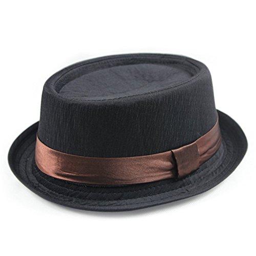 Manzouy® Unisex Sommer Strand Trilby Fedora Panama Breit Rand Hüte Sonne Mützen Hat Cap Schwarz