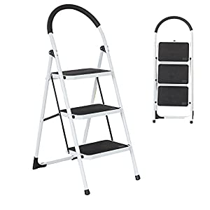 Dporticus Portable Anti-Slip 3 Step Ladder Folding Lightweight Steel Step Stool Platform 330LBS Capacity