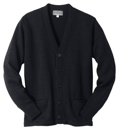 Edwards Heavy Weight V-Neck Pocket Hemmed Cardigan, BLACK, XLarge