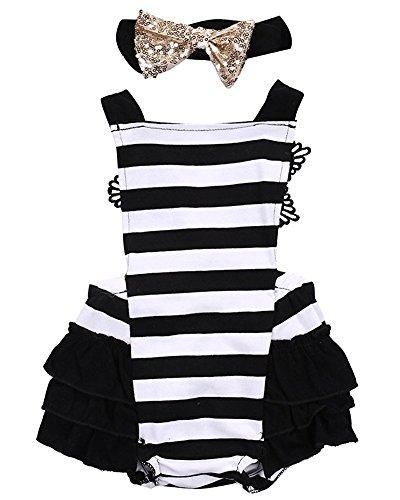 AlwaysFun Newborn Kids Baby Girls Halter Backless Lace Striped Ruffle Tutu Dress Bodysuit with Bowknot Headband (White&Black, 18-24Months) -