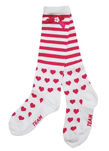 Valentine Wear Stripes and Hearts Pattern Cotton Socks Clothing Accessory 3-10y (white and pink) (Pink Heart Socks White)