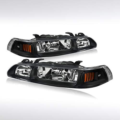 Autozensation For Acura Integra Pair Black Clear Headlights+Corner+Built-in Fog Lamps