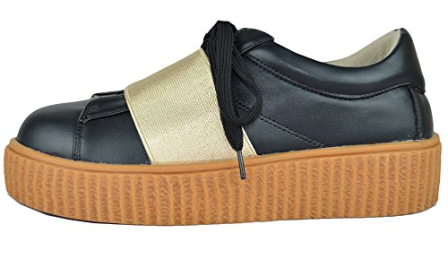 Chase & Chloe Womens Platform Creeper Fashion Sneaker Black ZZCD0cMPe
