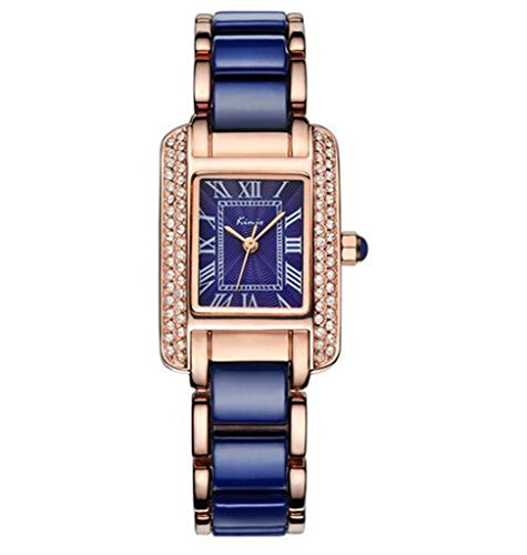 Tayhot Women Luxury Analog Watch,Women Rectangle Watches,Square Lady Wrist Watch,Womens Blue Dial Watch,Waterproof Quartz Stainless Steel Women Girls Lady Bracelet Dress Watch