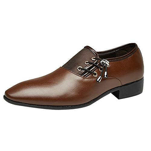iHPH7 Oxford Prince Classic Modern Formal Lace Up Dress Shoes Modern Classic Lace Up Leather Lined Perforated Oxfords Shoes Men (44,Brown)