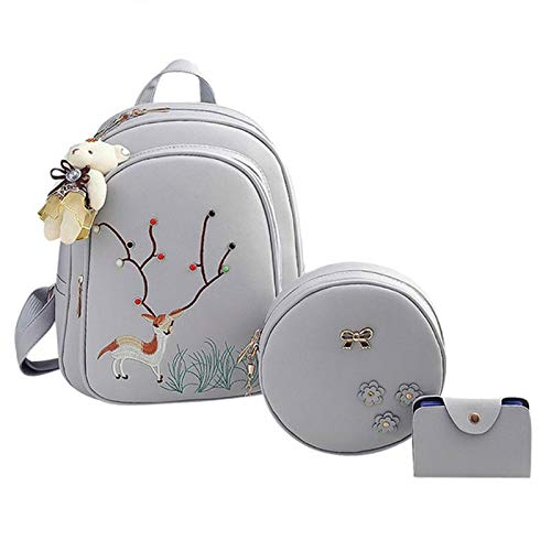 Bag Deer Set Shoulder Women 3Pcs Round Backpack Mini Emboridery Grey ATxv8Fqw