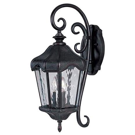 Maxim Lighting 40274WGOB Three Light Water Glass Wall Lantern Oriental Bronze