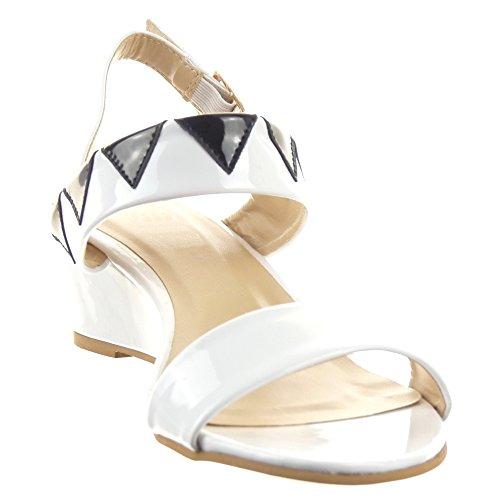 Sopily - Chaussure Mode Sandale Cheville femmes Brillant verni Talon compensé 4.5 CM - Blanc