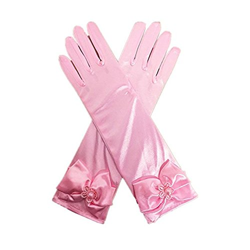 (Girls Kids Long Satin Gloves Wedding Party Bridal Dance Opera Gloves)