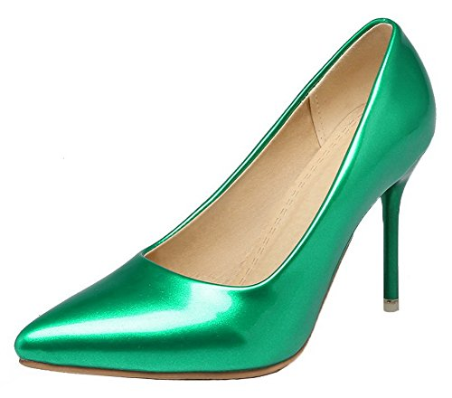 AllhqFashion Womens Pull-On Patent Leather Solid Spikes-Stilettos Pumps-Shoes Green RY8kC2puTS