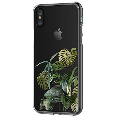Leaves Protector Case - iPhone X Case,Natural Plant Pattern on Soft TPU Silicone Protective Skin Ultra Slim & Clear with Unique Design Gift Bumper Back Cover for iPhone X Edition,Palm leaves