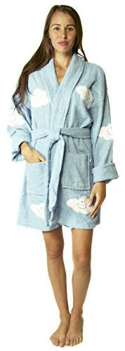 - Aegean Apparel Cloud Appliqued Robe in Light Blue, 100% Cotton Terry, Short, OS