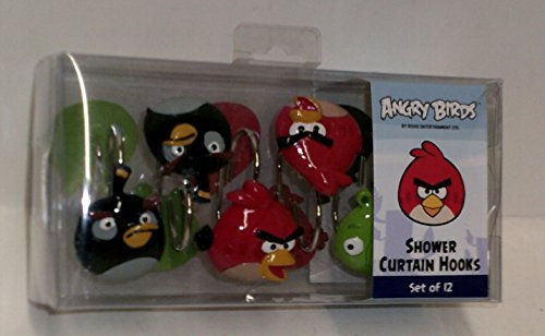 Angry Birds Shower Curtain Hooks Set of 12 (Angry Bird Curtains)