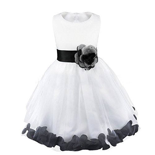 White Organza Black Sash Dress (AliceHouse Girls Wedding Pageant Flower Petals Girl White Dress With Bow Sash GD36 Black Size 4)