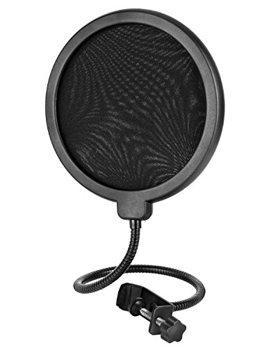 Pop Filter,Double-layer MIC Wind Screen,SOONHUA Round Clip-On Pop Mask Shield with 360 Degree Flexible Metal Gooseneck Holder Screw Clamp for Recording Vocals