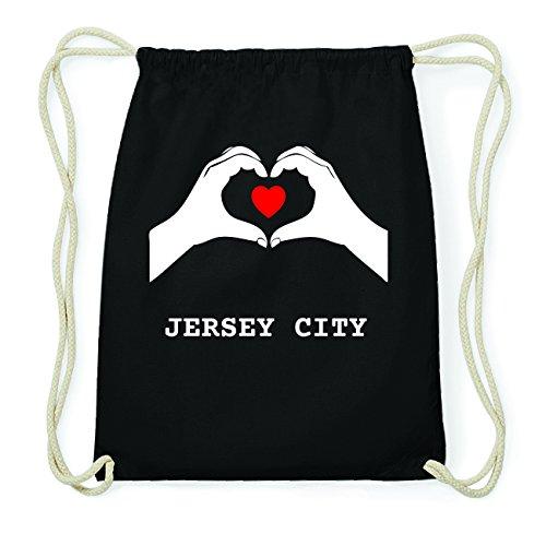 JOllify JERSEY CITY Hipster Turnbeutel Tasche Rucksack aus Baumwolle - Farbe: schwarz Design: Hände Herz Rs2Q6ezkVz