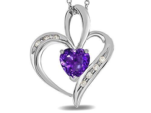 (Star K Heart Shape 6mm Genuine Amethyst Pendant Necklace 14 kt White Gold)