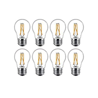 Philips LED 536649 Dimmable A15 Clear Filament Glass Light Bulb with Warm Glow Effect: 500-Lumens, 2700-2200 Kelvin, 5.5 (60-Watt Equivalent), E26 Medium Screw Base, 8 Pack