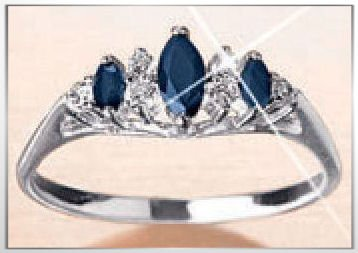 Avon Sterling Silver Marquise Sapphire Ring