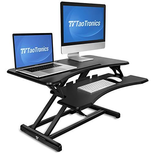 Standing Desk Converter, TaoTronics 36 inch Stand Up Desk Sit to Stand Desk Adjustable Riser, Fit Dual Monitors with Removable Keyboard Tray Ergonomic Workstation (Desk Lift Keyboard Standing)